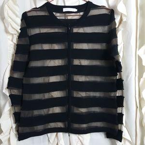 Anne Fontaine Cladie Mesh Wool Stripe Zip Jacket
